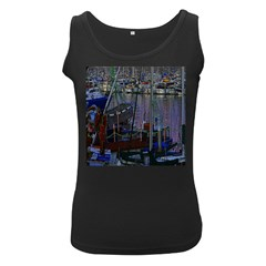 Christmas Boats In Harbor Women s Black Tank Top