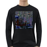 Christmas Boats In Harbor Long Sleeve Dark T-Shirts Front