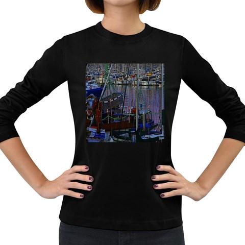 Christmas Boats In Harbor Women s Long Sleeve Dark T-Shirts