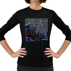 Christmas Boats In Harbor Women s Long Sleeve Dark T-Shirts