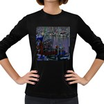 Christmas Boats In Harbor Women s Long Sleeve Dark T-Shirts Front