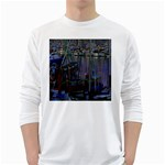 Christmas Boats In Harbor White Long Sleeve T-Shirts Front