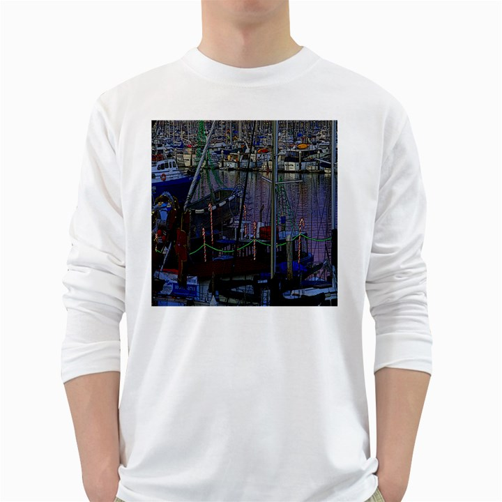 Christmas Boats In Harbor White Long Sleeve T-Shirts