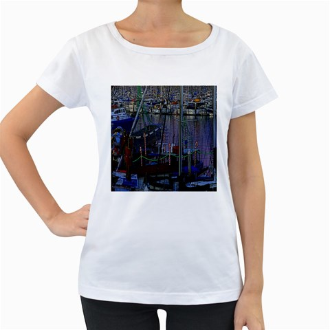 Christmas Boats In Harbor Women s Loose-Fit T-Shirt (White)