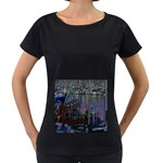 Christmas Boats In Harbor Women s Loose-Fit T-Shirt (Black) Front