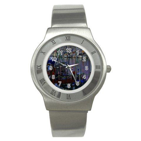 Christmas Boats In Harbor Stainless Steel Watch