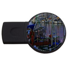 Christmas Boats In Harbor USB Flash Drive Round (4 GB)