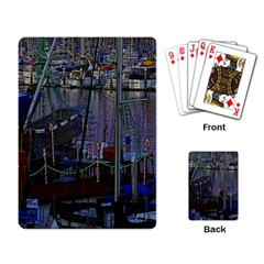 Christmas Boats In Harbor Playing Card