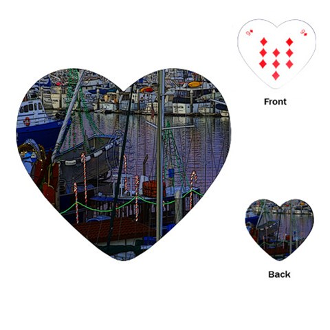 Christmas Boats In Harbor Playing Cards (Heart)