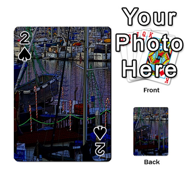 Christmas Boats In Harbor Playing Cards 54 Designs