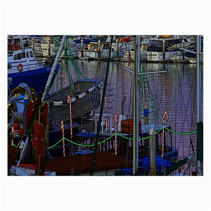 Christmas Boats In Harbor Collage Prints