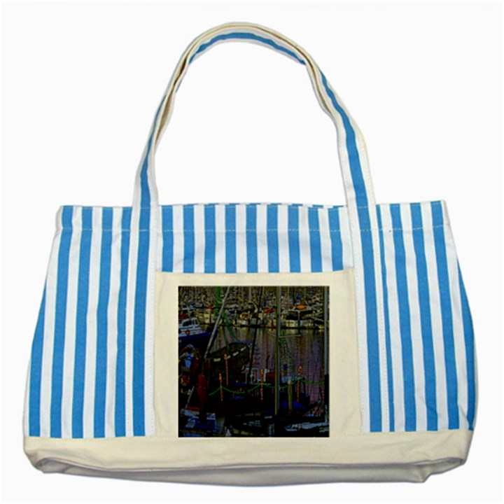 Christmas Boats In Harbor Striped Blue Tote Bag