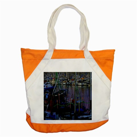 Christmas Boats In Harbor Accent Tote Bag
