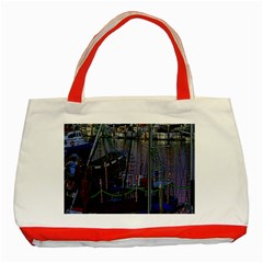 Christmas Boats In Harbor Classic Tote Bag (Red)