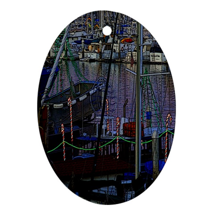 Christmas Boats In Harbor Oval Ornament (Two Sides)