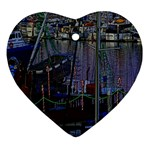 Christmas Boats In Harbor Heart Ornament (2 Sides) Front