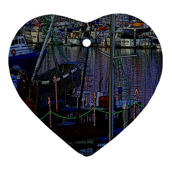 Christmas Boats In Harbor Heart Ornament (2 Sides)