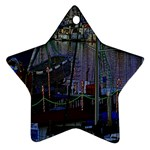 Christmas Boats In Harbor Star Ornament (Two Sides)  Back