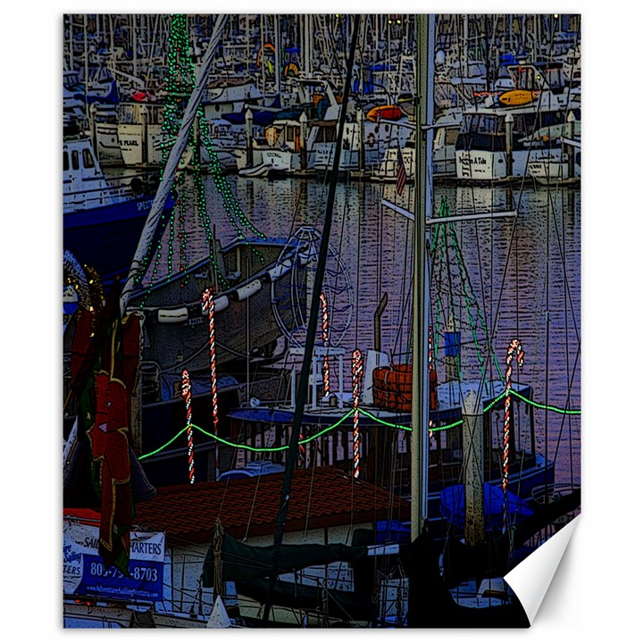 Christmas Boats In Harbor Canvas 8  x 10
