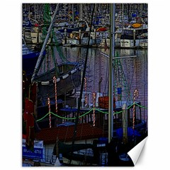 Christmas Boats In Harbor Canvas 12  x 16
