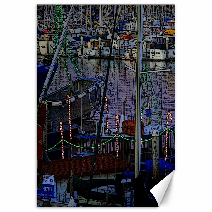 Christmas Boats In Harbor Canvas 12  x 18