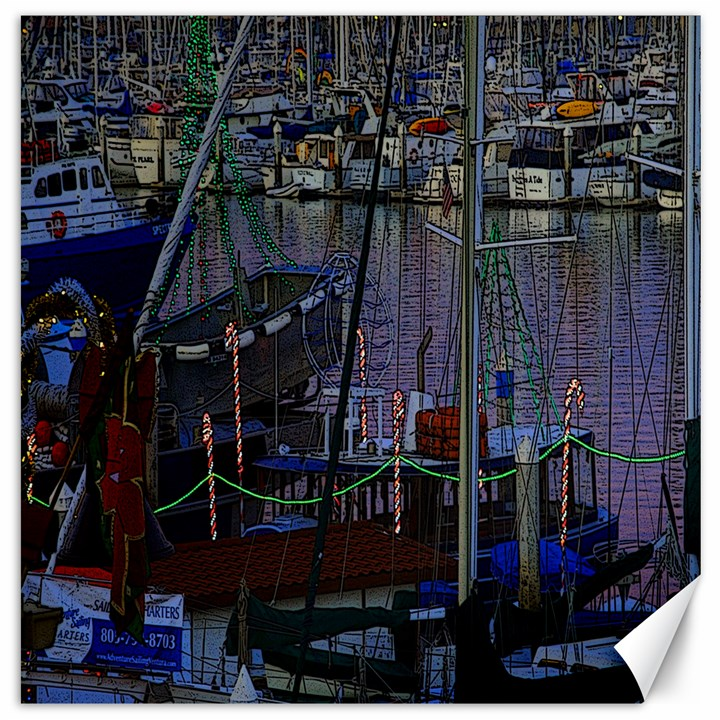Christmas Boats In Harbor Canvas 20  x 20