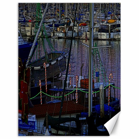 Christmas Boats In Harbor Canvas 18  x 24