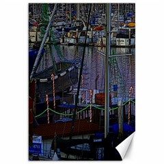 Christmas Boats In Harbor Canvas 20  x 30