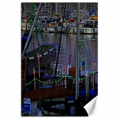 Christmas Boats In Harbor Canvas 24  x 36