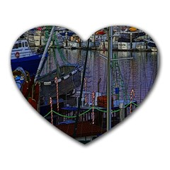 Christmas Boats In Harbor Heart Mousepads