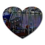 Christmas Boats In Harbor Heart Mousepads Front