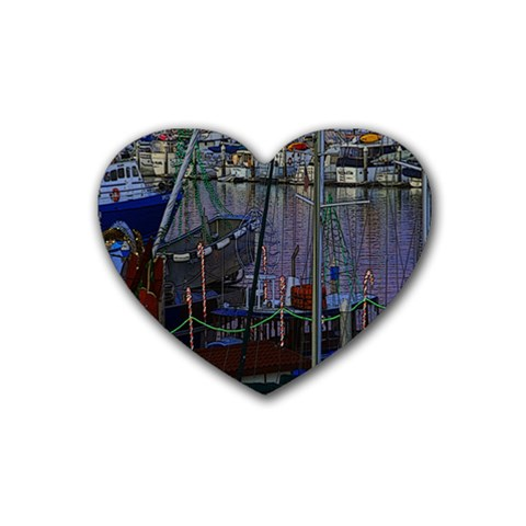 Christmas Boats In Harbor Rubber Coaster (Heart)