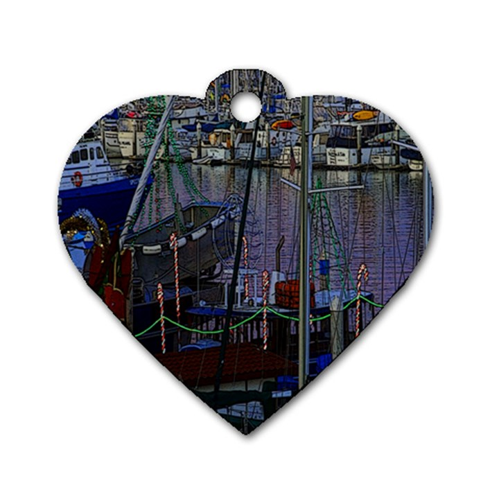 Christmas Boats In Harbor Dog Tag Heart (Two Sides)