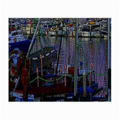 Christmas Boats In Harbor Small Glasses Cloth (2-Side)