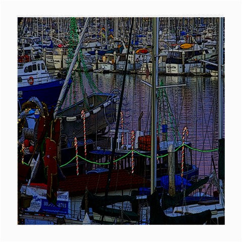 Christmas Boats In Harbor Medium Glasses Cloth (2-Side)