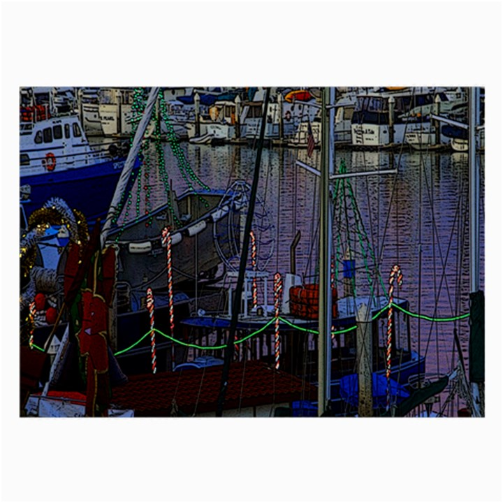 Christmas Boats In Harbor Large Glasses Cloth