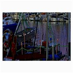 Christmas Boats In Harbor Large Glasses Cloth (2-Side) Back