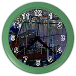 Christmas Boats In Harbor Color Wall Clocks Front