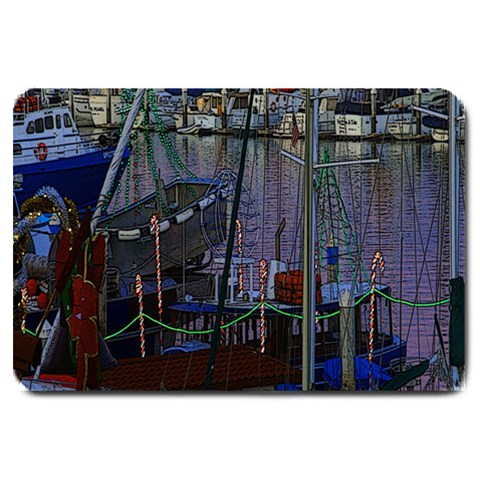 Christmas Boats In Harbor Large Doormat