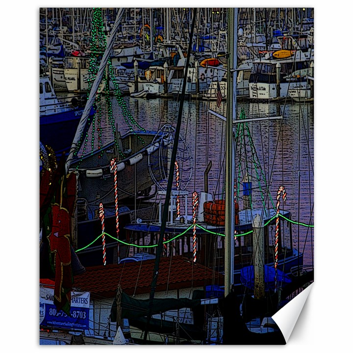 Christmas Boats In Harbor Canvas 11  x 14