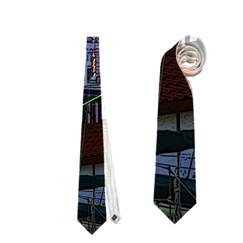 Christmas Boats In Harbor Neckties (One Side)