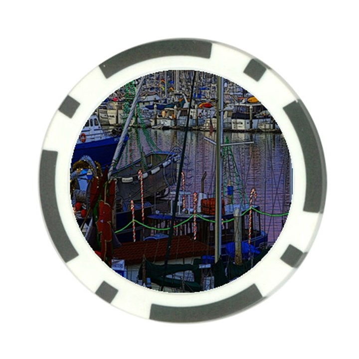 Christmas Boats In Harbor Poker Chip Card Guards