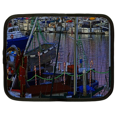 Christmas Boats In Harbor Netbook Case (Large)