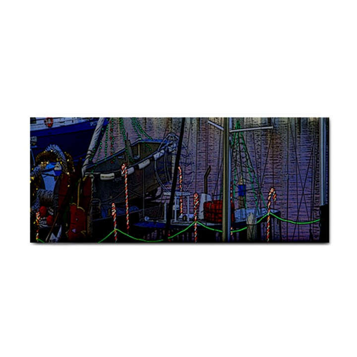 Christmas Boats In Harbor Hand Towel