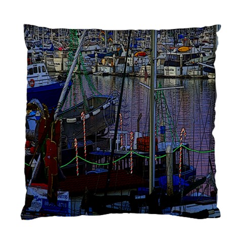 Christmas Boats In Harbor Standard Cushion Case (One Side)