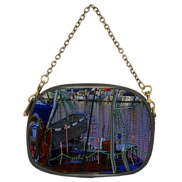 Christmas Boats In Harbor Chain Purses (Two Sides)
