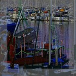 Christmas Boats In Harbor Mini Canvas 8  x 8  8  x 8  x 0.875  Stretched Canvas