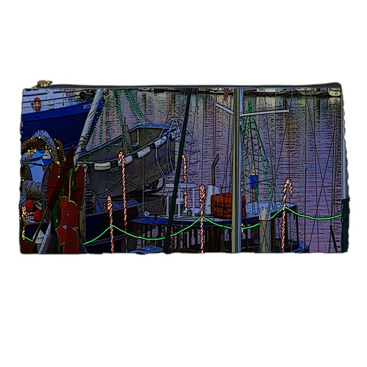 Christmas Boats In Harbor Pencil Cases