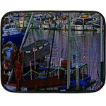 Christmas Boats In Harbor Double Sided Fleece Blanket (Mini)  35 x27 Blanket Front