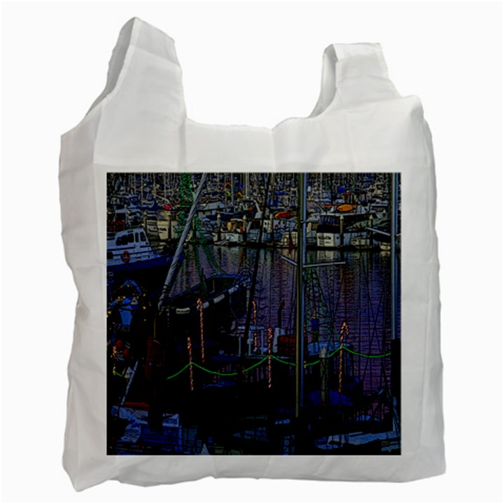 Christmas Boats In Harbor Recycle Bag (One Side)